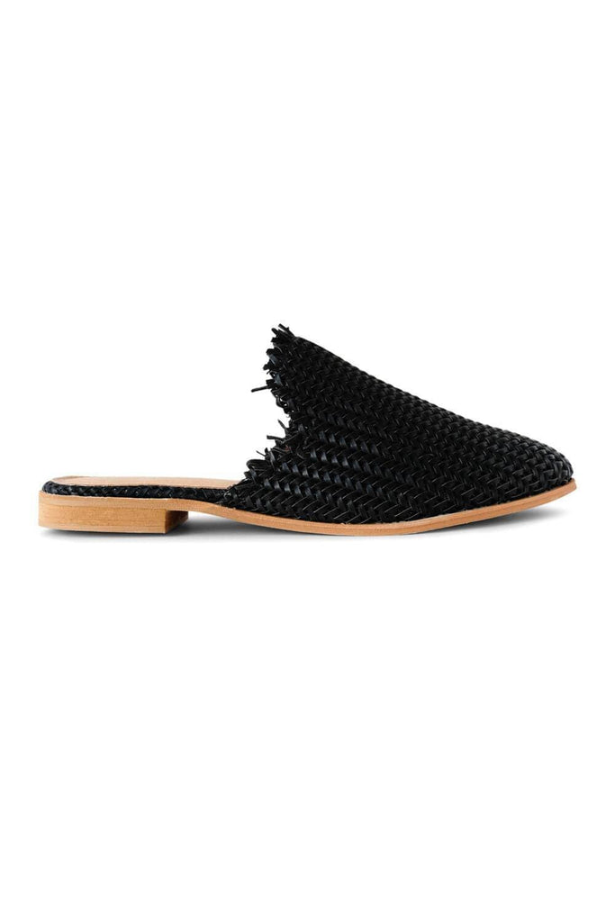 Vivi Woven Mule Flat Black side - MILK MONEY