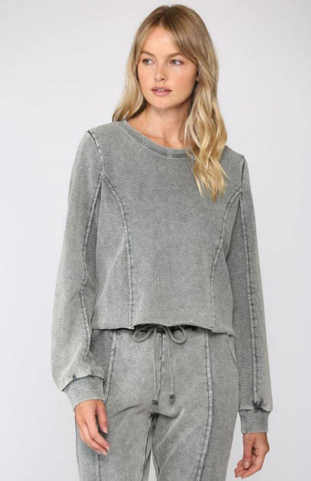 Washed Terry Cropped Sweatshirt grey MILK MONEY