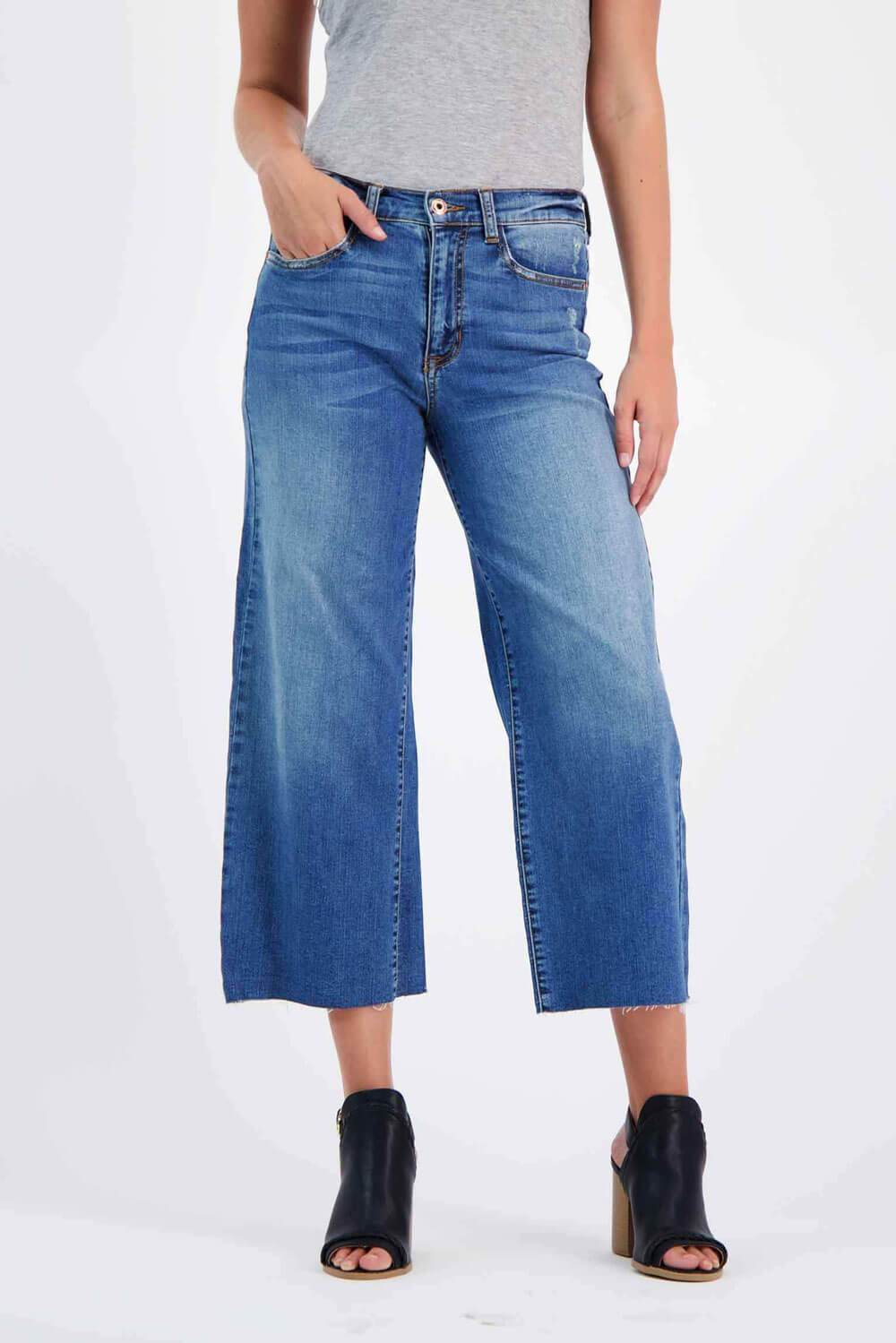 Wide Leg Crop Jeans blue - MILK MONEY