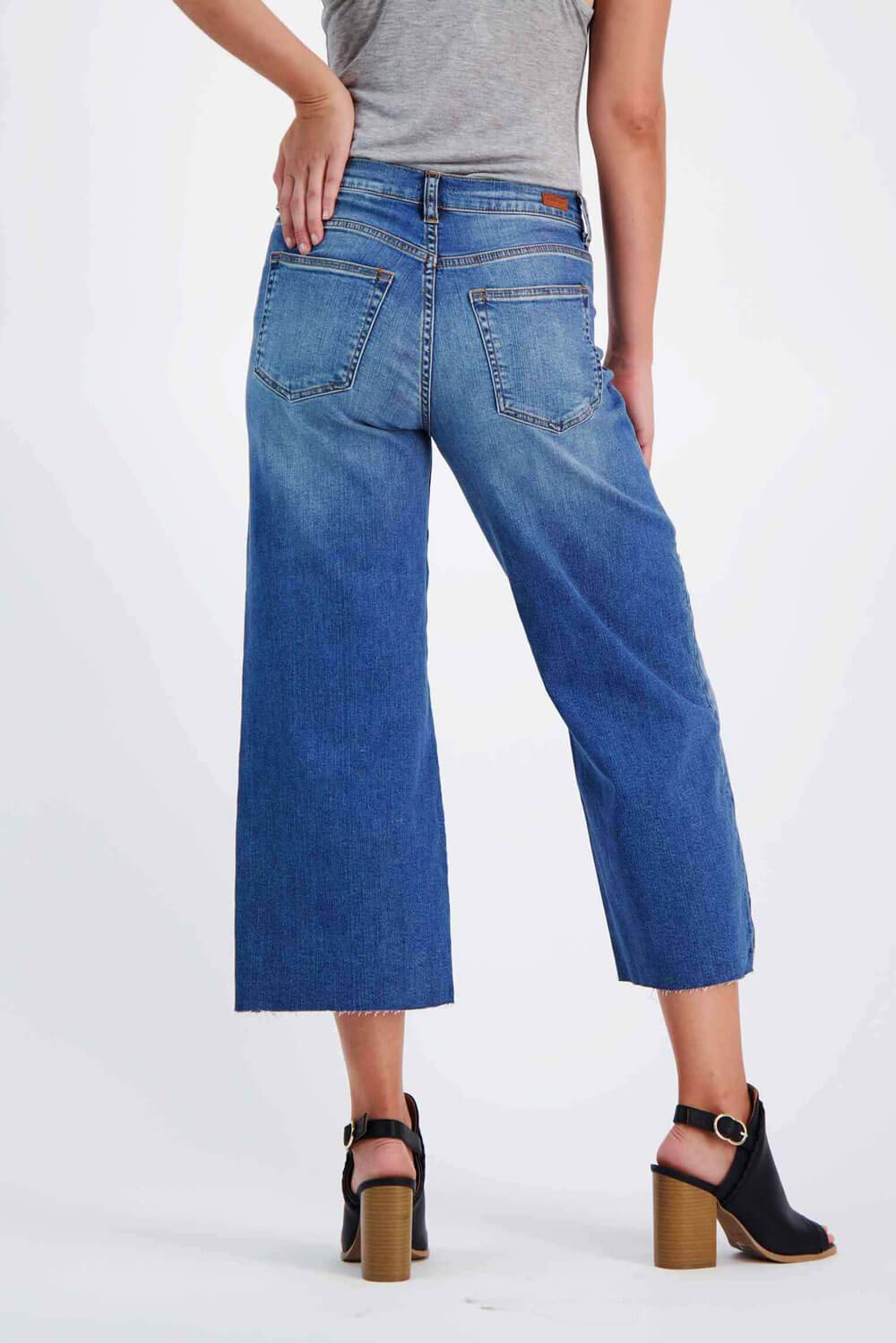 Wide Leg Crop Jeans blue -MILK MONEY