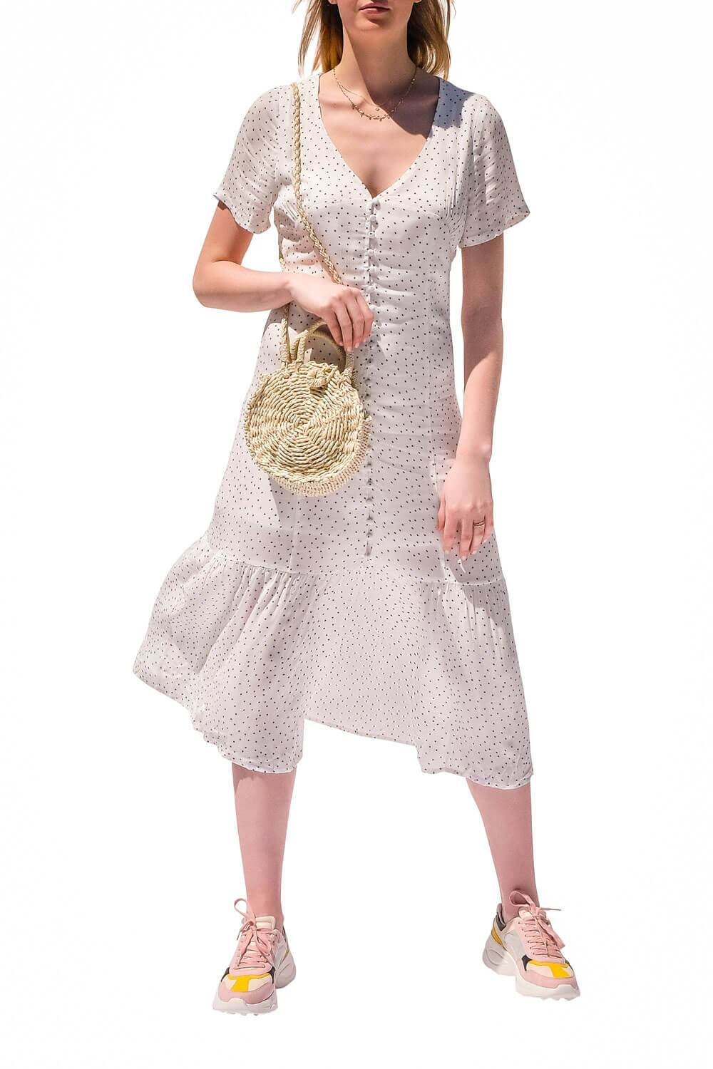 Willow Polka Dot Dress White - MILK MONEY