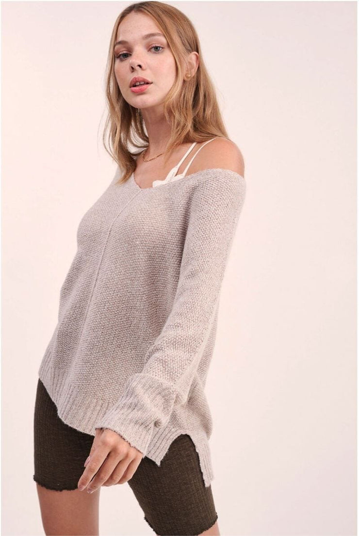 Winnie Soft Knit Sweater taupe front MILK MONEY
