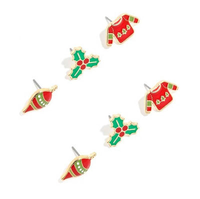 Wintertime Holiday Stud Earring Set red green MILK MONEY