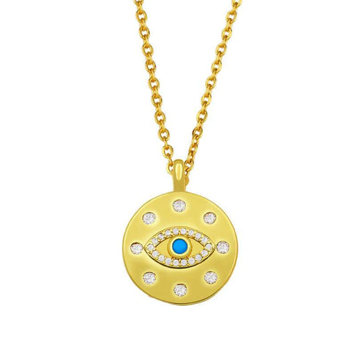 Women's Classic Evil Eye Pendant Charm Necklace gold front detail | JEWELRY | MILK MOENY | milkmoney.co