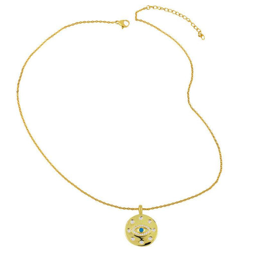 Women's Classic Evil Eye Pendant Charm Necklace gold full view | JEWELRY | MILK MONEY | milkmoney.co