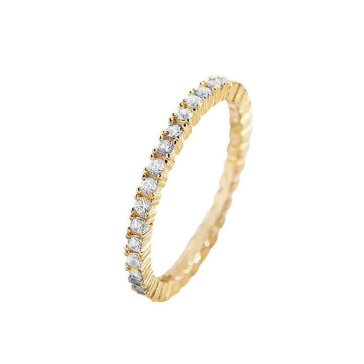 Women's Everyday Crown Bezel Layering Ring gold side | MILK MONEY | milkmoney.co