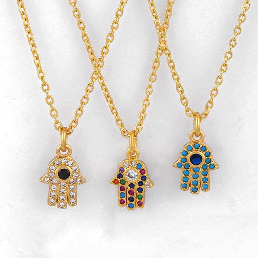 Women's Everyday Pavé Hamsa Hand Charm Necklace gold group | JEWELRY | MILK MONEY | milkmoney.co