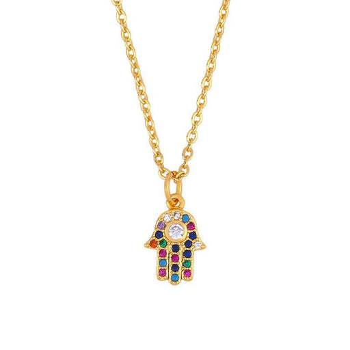 Women's Everyday Pavé Hamsa Hand Charm Necklace gold rainbow front | JEWELRY | MILK MONEY | milkmoney.co