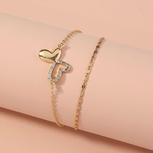 Women's Pavé Butterfly Double Wrapped Friendship Bracelet gold front | JEWELRY | MILK MONEY | milkmoney.co