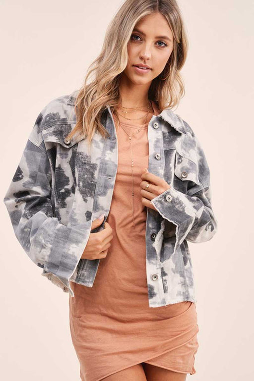 Women's Skylar Cropped Tie Dyed Jacket grey front | MILK MONEY | milkmoney.co