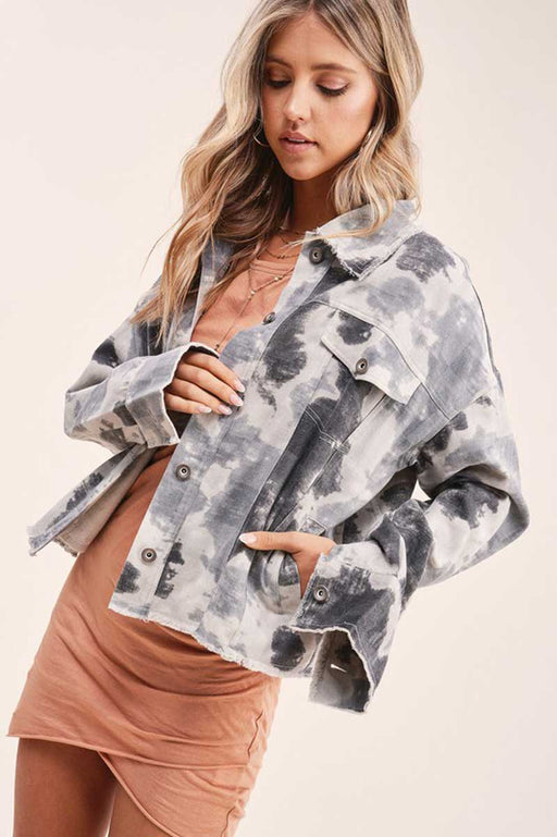 Women's Skylar Cropped Tie Dyed Jacket grey side | MILK MONEY | milkmoney.co