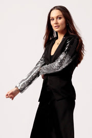 Womens Black Blazer with Sparkle Sleeve side