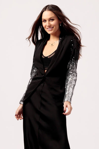 Womens Black Blazer with Sparkle Sleeve
