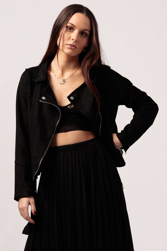 Womens Black Moto Jacket - MILK MONEY