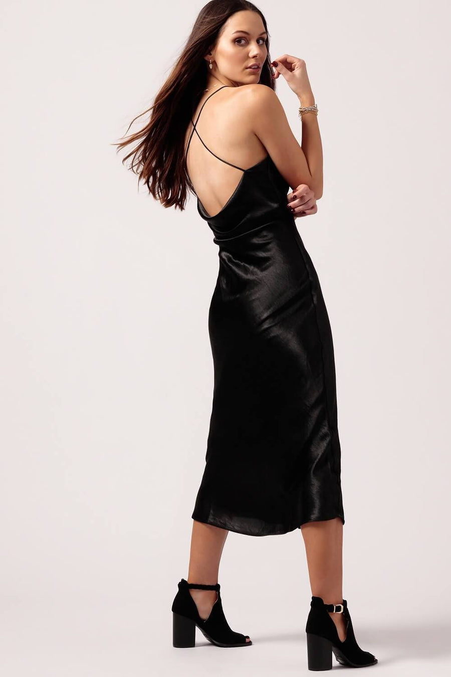 Womens Black Silk Slip Dress