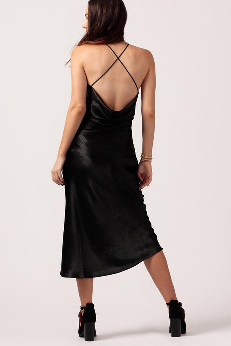 Womens Black Silk Slip Dress Back