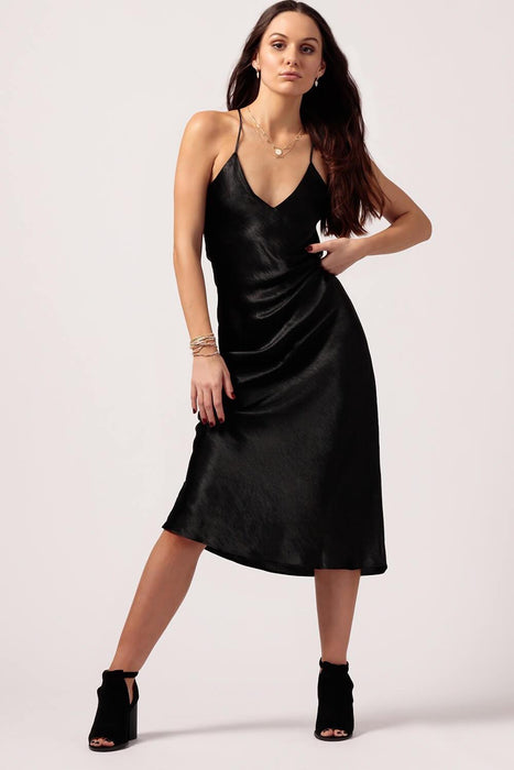 Womens Black Silk Slip Dress - MILK MONEY
