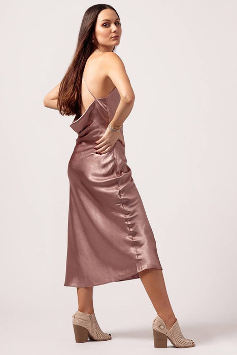 Womens Blush Silk Slip Dress Back