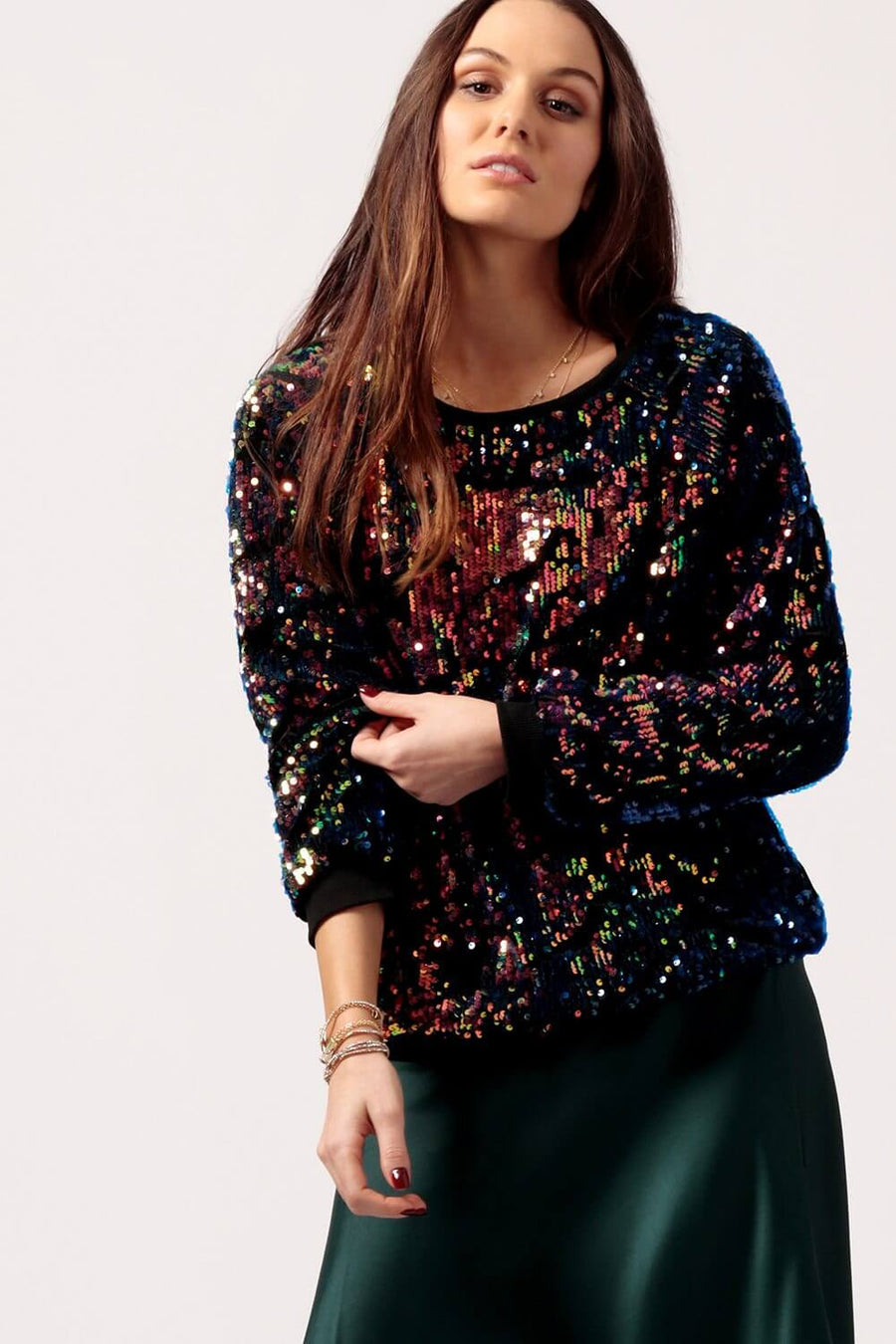Womens Velvet Iridescent Sequin Sweater