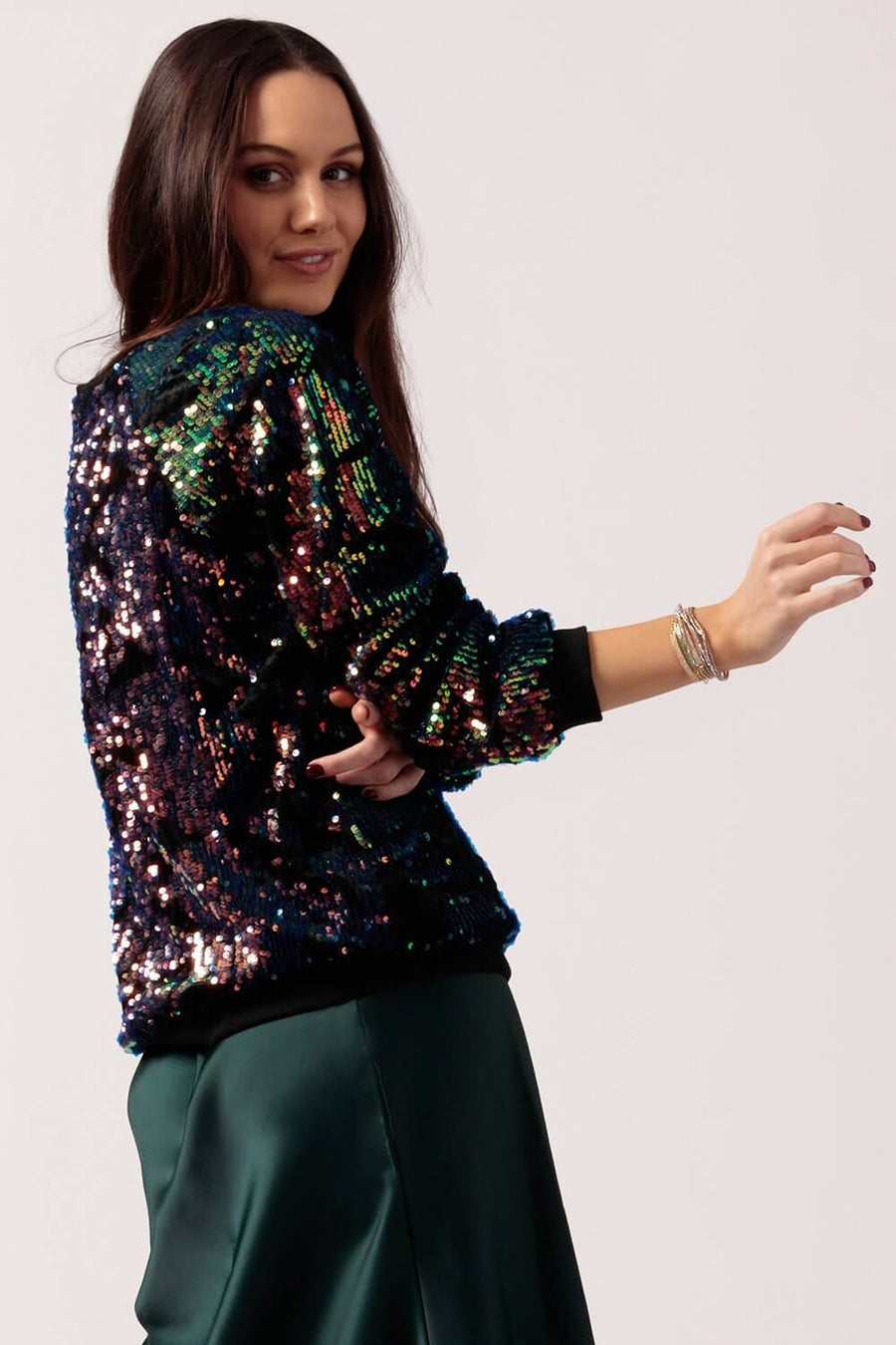 Womens Velvet Iridescent Sequin Sweater Back