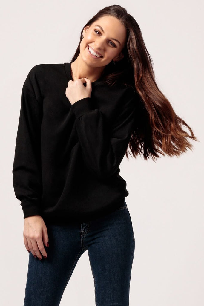 Womens Oversized black Fleece Sweatshirt -MILK MONEY