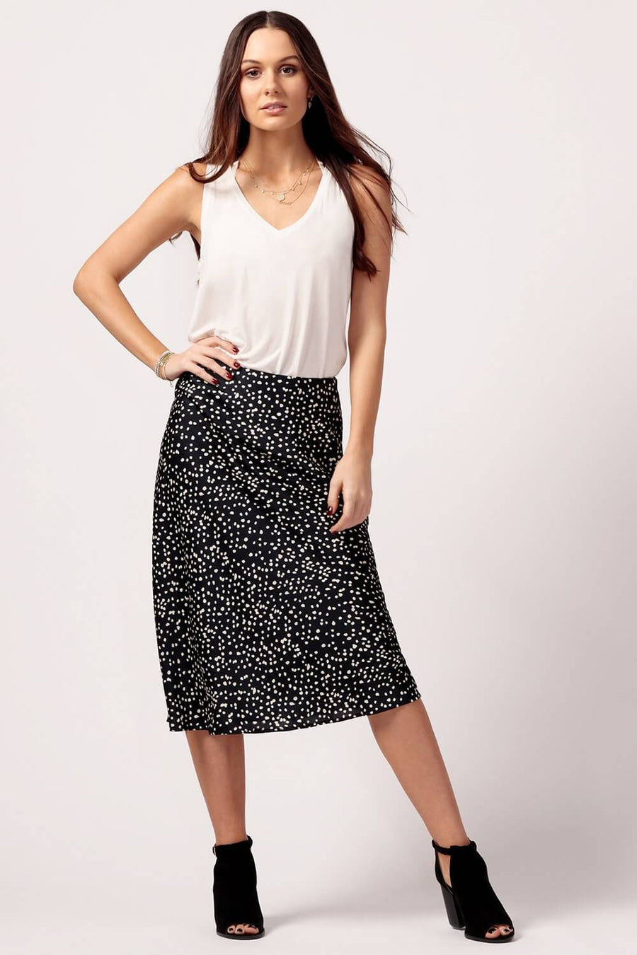Womens Black Polka Dot Silk Skirt