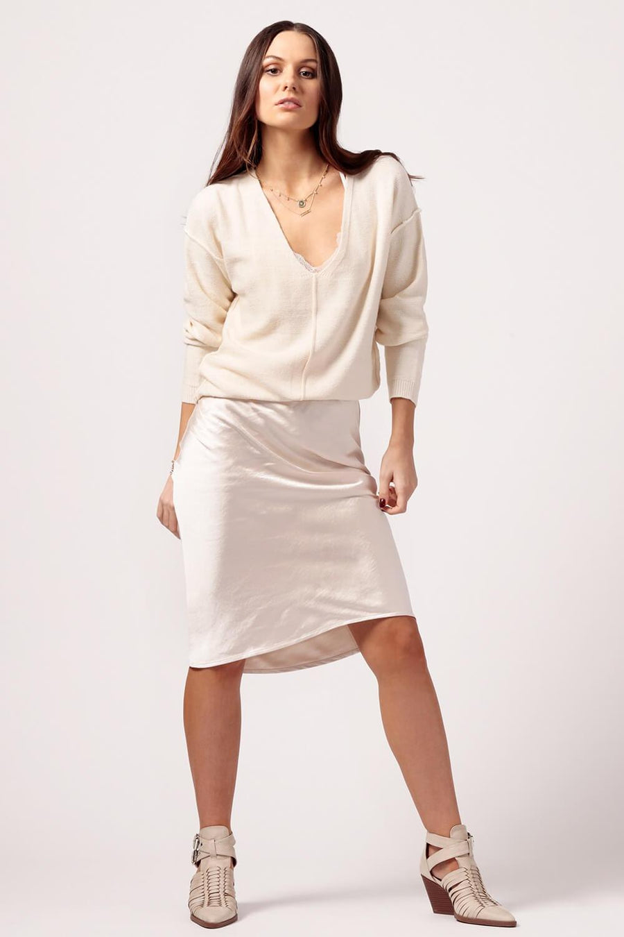 Womens cream Silk Skirt