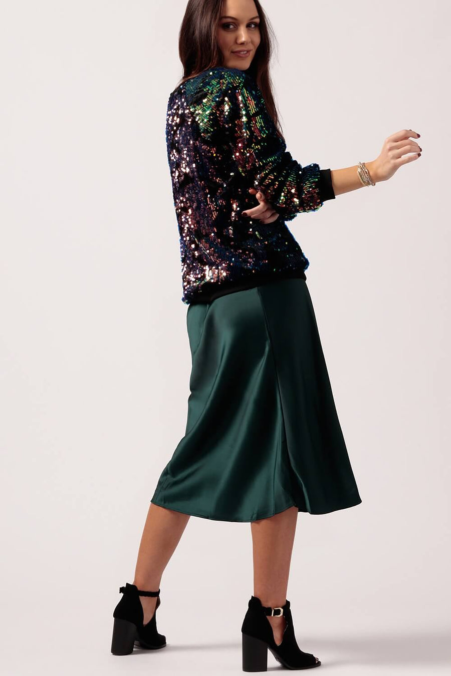Women's Emerald Silk Skirt