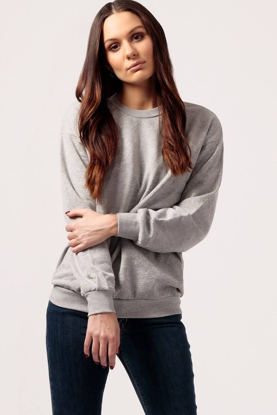 womens Oversized grey Fleece Sweatshirt