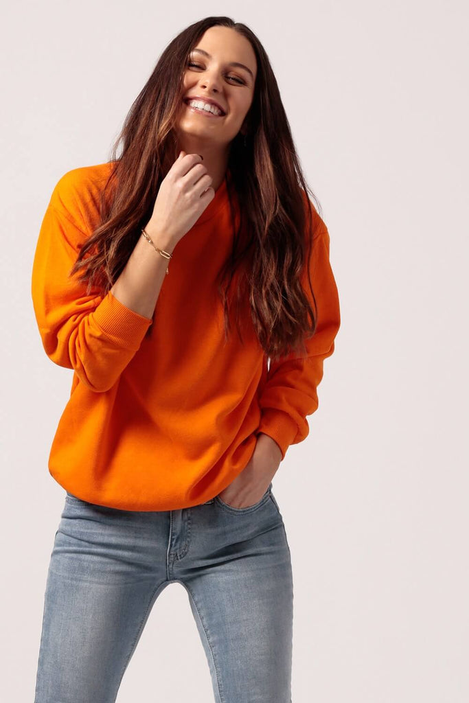 Oversized Fleece Sweatshirt Orange - MILK MONEY