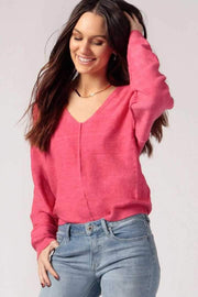 Women's Pink Oversized V-Neck Sweater