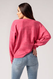 Women's Pink Oversized V-Neck Sweater Back