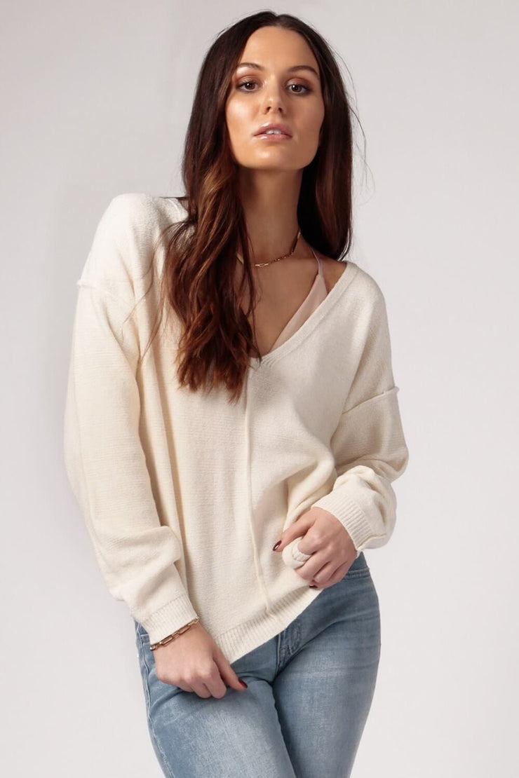 Women's Cream Oversized V-Neck Sweater