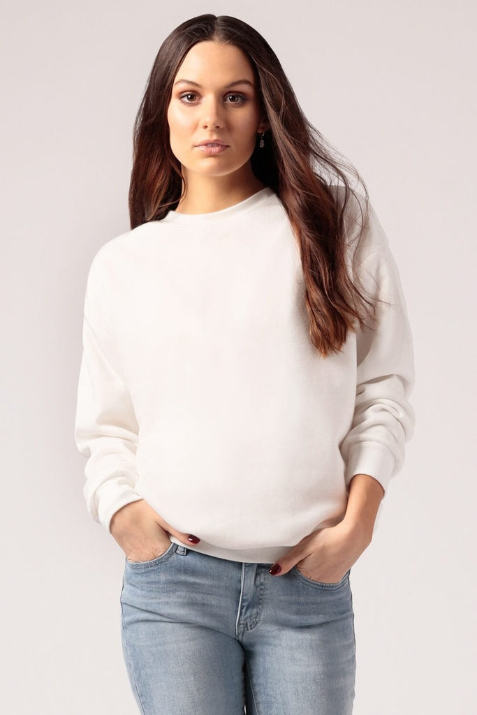Oversized Fleece Sweatshirt White - MILK MONEY