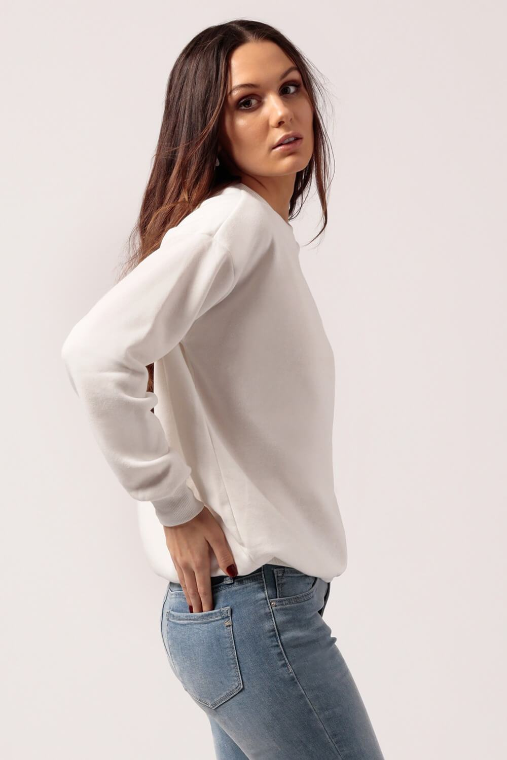 Oversized Fleece Sweatshirt White side - MILK MONEY