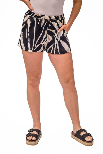 Zebra Silk Sun Shorts white black -Milk MONEY