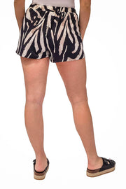 Zebra Silk Sun Shorts White black - MILK MONEY