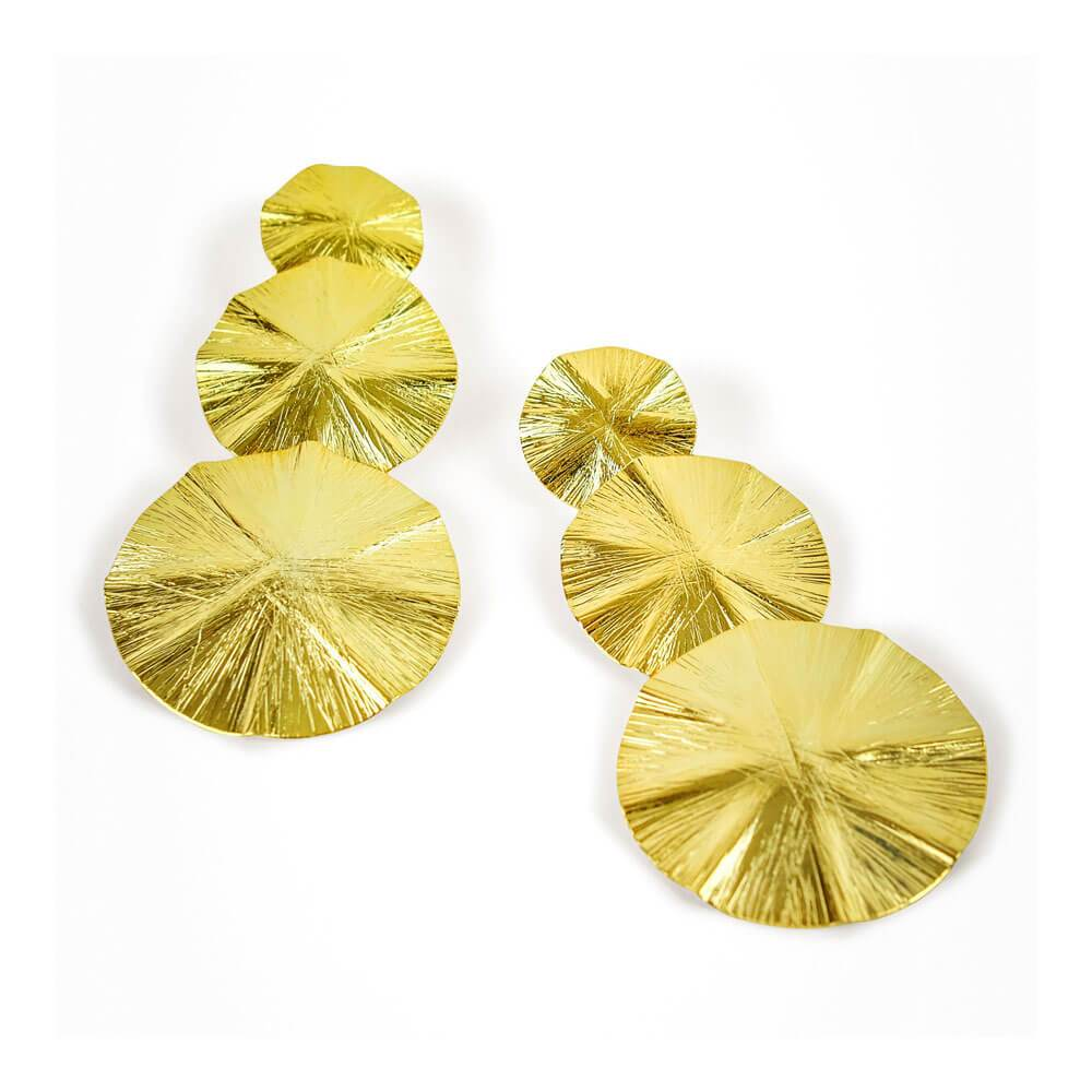 Zoey Circle Disc Drop Earrings Gold - MILK MONEY