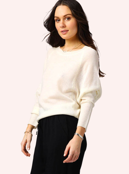 Zoey Springtime Casual Sweater Top White MILK MONEY