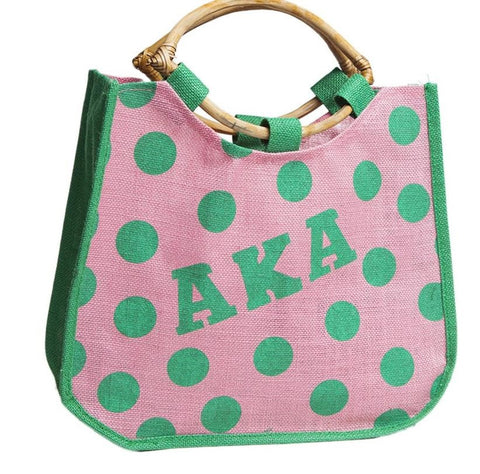 Large Polka Dot Jute Bag