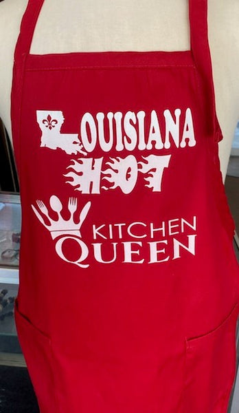 Louisiana Hot Apron Kitchen Queen Vynal Red