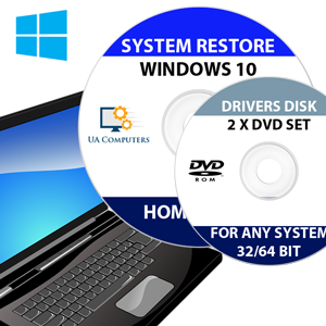 WINDOWS 10 REINSTALL REPAIR RECOVERY HOME AND PROFESSIONAL 32/64 BIT & DRIVERS PACK ON DISC