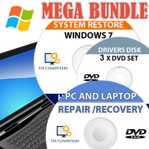 WINDOWS 7 REINSTALL MEGA BUNDLE WITH DRIVERS AND ULTIMATE REPAIR DISC