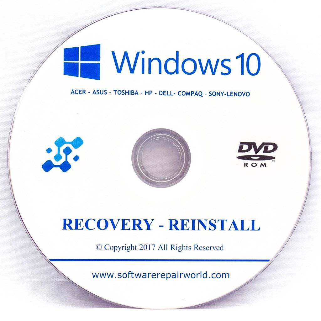 Windows 10 Home and Professional Recovery Disc (DVD)
