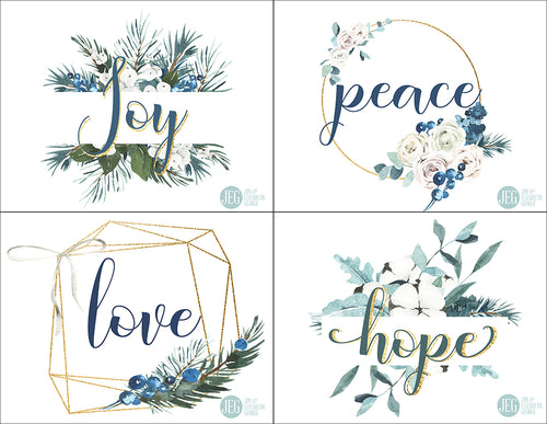 Christmas Post Cards - Joy, Peace, Love, and Hope (Printable)