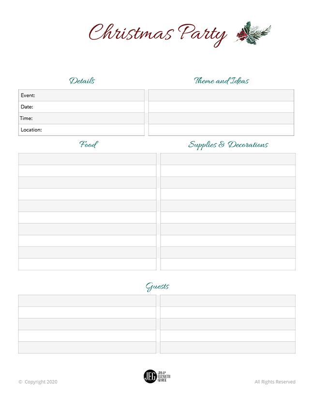 Christmas Party Planner (Printable)