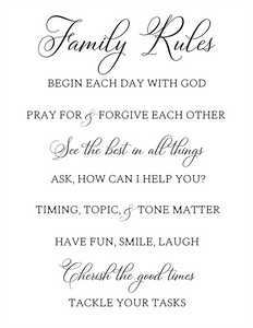 Family Rules Printable PDF