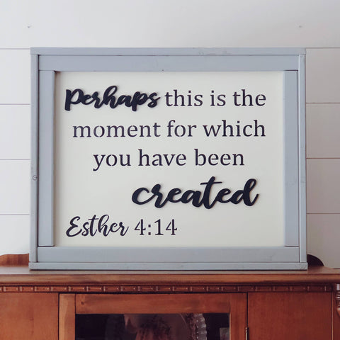 21 x 26 Esther 4:14 Framed Sign - Courtyard Style