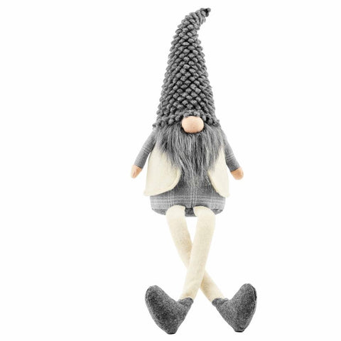 Gray Deluxe Dangle Leg Gnome - Courtyard Style
