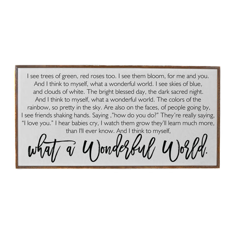 32x16 What A Wonderful World Horizontal Wood Sign - Courtyard Style